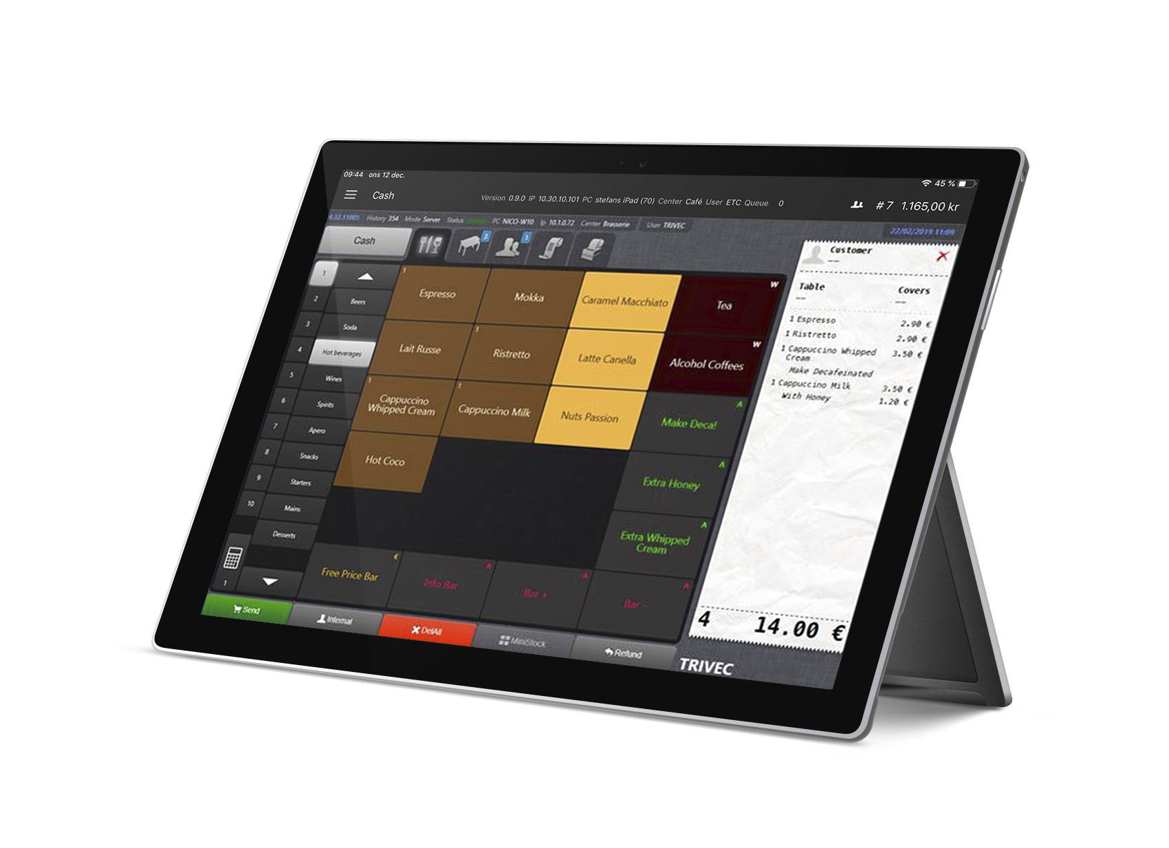 Trivec Go een mobiel kassasysteem voor restaurants